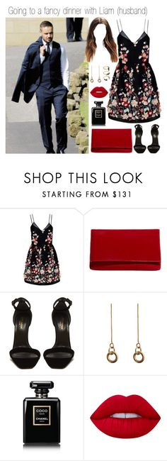 """""""Going to a fancy dinner with Liam (husband)"""" by directioner-123-ii on Polyvore featuring The 2nd Skin Co., Karen Millen, Yves Saint Laurent, Laura Lombardi, Chanel, Lime Crime and Noir Jewelry"""