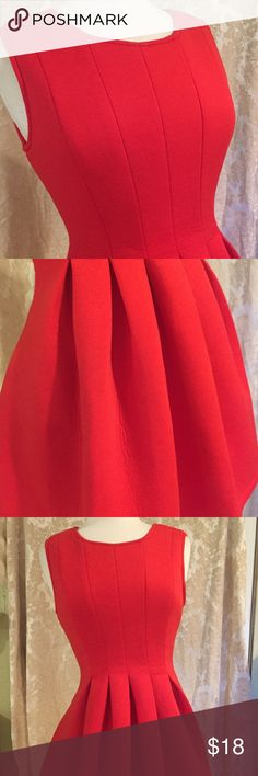 Red neoprene type dress Be gorgeous in this adorable red gathered dress. Fabric is a soft light neoprene type but not heavy. This is too cute! Size M with tags, never been worn. Note first pic is for style inspiration last photos are of actual dress Dresses Midi