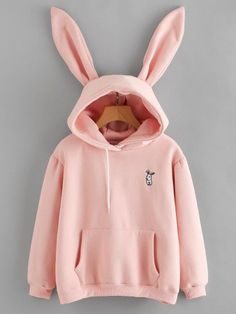Rabbit Ear Hooded Embroidered Kangaroo Pocket Sweatshirt