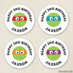 Paper goods and DIY printables for parties and holidays Ninja Turtle Birthday, Ninja Turtle Party, Happy 2nd Birthday, Birthday Ideas, Personalized Stickers, Teenage Mutant Ninja Turtles, Tmnt Cake, Favor Bags, Perfect Party