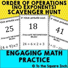Order of Operations Scavenger Hunt Math Classroom, Math Math, Math Games, Math Multiplication, Future Classroom, Math Activities, Classroom Ideas, Numerical Expression, Fifth Grade Math