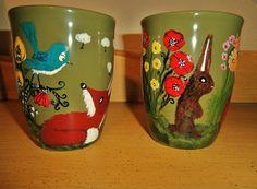 Red Fox Mugs - flower garden handpainted set of 2 coffee cups. $45.00, via Etsy.