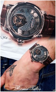 3D watch by Remigijus Cizauskas at Remis Tattoo. ARE YOU KIDDING ME!? THAT IS SUCH AN AWESOME TATTOO!