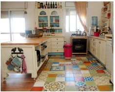 Happiest little cottage-ish kitchen mismatched tiles on floor. Happiest little cottage-ish kitchen mismatched tiles on floor. Boho Kitchen, New Kitchen, Vintage Kitchen, Kitchen Decor, Happy Kitchen, Kitchen Ideas, Quirky Kitchen, Eclectic Kitchen, Kitchen Images