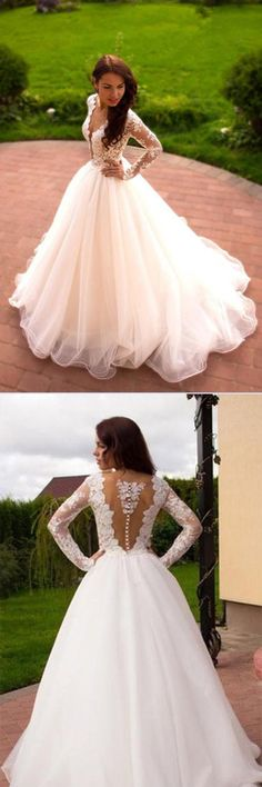 Elegant Ball Gowns Wedding Dresses,Cheap Long Sleeves Wedding Dresses #Ballgown #Weddingdress #Bridalgown #Longsleeves