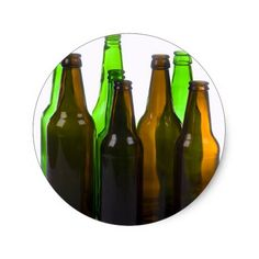 beer bottles classic round sticker