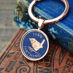 1949 Keyring Farthing Birth Year - Birthday - Coin Keyring Mens Birthday Anniversary Present Gift Copper Anniversary Gifts, Anniversary Present, Advertising Pictures, 70th Birthday Gifts, Birth Year, Present Gift, Rose Gold Plates, Key Rings, Presents