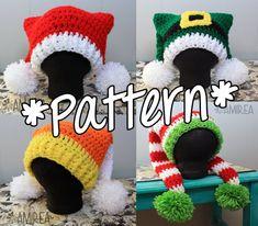 SOFORT-DOWNLOAD--Doppel Schwanz Urlaub Hut Beanie - Crochet Pattern - Adult, Teen, Kleinkind, Baby-Größen