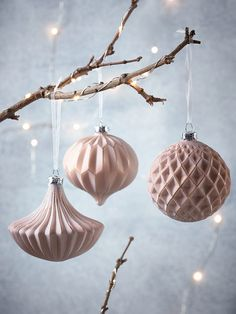 NEW Six Vintage Style Glass Baubles - Blush