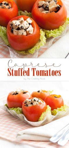 Caprese Stuffed Tomatoes #caprese #capresesalad #capreserecipe