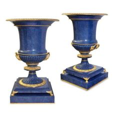 Pair of monumental krater-form lapis lazuli vases | French | 20th Century. More details online at mayfairgallery.com Wrought, Decorative Objects, Vases And Vessels, Vase, Bronze, Craftsmanship, Bronze Vase, Gilt, Neoclassical