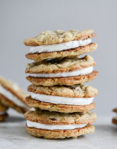 Chewy Oatmeal Sandwich Cookies with Marshmallow Buttercream Filling