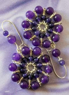 Purple Jade Hoop Earrings - Mystic Wheel | CharanCreations - Jewelry on ArtFire