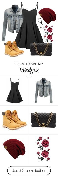 """Untitled #362"" by fashionboss1 on Polyvore featuring LE3NO, Glamorous, Timberland, Chanel and Ray-Ban"