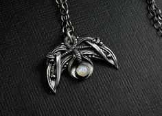 Handmade Silver Moon Pendant With Moonstone by SkyAndBeyond