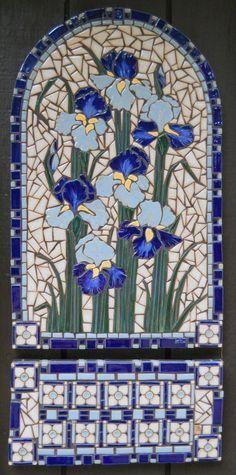 Irises mosaic wall hanging.