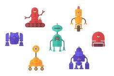 Robots Vector Flat Clip Art - Illustrations
