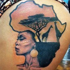 New african body art woman africa ideas African Warrior Tattoos, African Queen Tattoo, Hair Tattoos, Body Art Tattoos, Afro Tattoo, Tattoo Dad, Cloud Tattoos, Tatoos, Great Tattoos