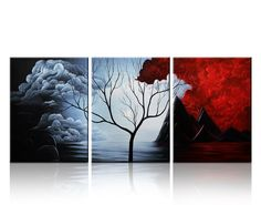 Santin Art- Modern Abstract Painting the Cloud Tree High Q. Wall Decor Landscape Paintings on Canvas Stretched and Framed Ready to Hang Santin Art Tree Wall Decor, Tree Wall Art, Diy Wall Art, Modern Wall Art, Framed Wall Art, Canvas Wall Art, Wall Art Prints, Tree Artwork, Artwork Ideas