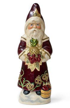 Vaillancourt 'Santa in Burgundy Floral Coat' Figurine -