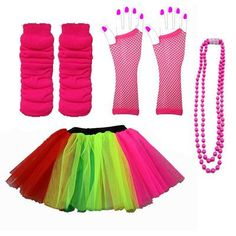 3-LAYER-TUTU-SKIRTS-NEON-LEG-WARMERS-GLOVES-BEADS-1980S-FANCY-DRESS-FUN-RUN