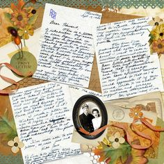 "Pg. #1 of double page ""Love Letters"" layout...great idea to showcase special vintage letters and tell a story."