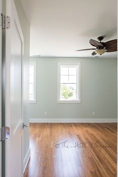 Walls : Sherwin Williams 'Sea Salt' SW 6024 - silvery green.  Floors : strand bamboo from Costco #home #interior_paint