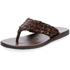 Miramare Italia Men's Open-Toe Thong Flip-Flops - Brown - Size 40 ($109) ❤ liked on Polyvore featuring men's fashion, men's shoes, men's sandals, men's flip flops, brown, mens brown flip flops, mens leather flip flops, mens brown leather sandals, mens brown leather shoes and mens brown leather flip flops