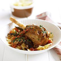 Lamb shanks with mushroom ragout