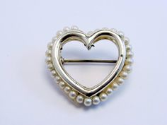 Vintage Gold Tone Seed Pearl Heart Pin Brooch #vintagejewelry, #retro, #jewelry