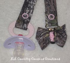 Cute Girly Mossy Oak Break-Up Pacifier Clip for Baby Girl - Realtree Patterns Available. $7.50, via Etsy.