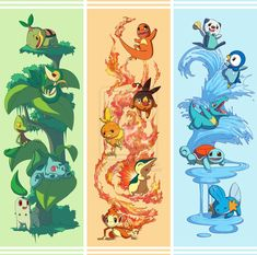 grass, water and fire pokemon!