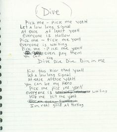 "Lyrics to ""Dive"" from Incesticide. #Nirvana -"