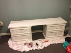 Painted Furniture, Refinish, Redo, DIY,  Remake Process Makeup Vanity Painted MDF White to match nightstands.  I needed a cheap inexpensive way to transform my guest bedroom into my office/dressing room working with things I already had at home.  With a lot of imagination and a little hard work it turned out better then I expected. (see complete dressing room under separate board)