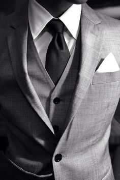 mens street style fashion: 3 piece grey suit vest waistcoat, jacket white pocket square black tie crisp white shirt (mw)