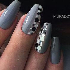Beautiful Unique and Trendy Nail Designs 2017 Elegant Nails, Stylish Nails, Beautiful Nail Art, Gorgeous Nails, Grey Nail Designs, Nails Only, Gray Nails, Polka Dot Nails, Nail Candy