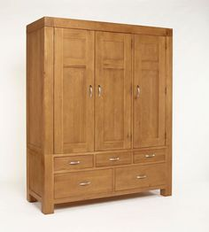 Santana Blonde Oak furniture collection is made from reclaimed oak recovered from the demolition of old buildings and has a wonderful, rustic character and rich patina built up by hand finishing.Santana Blonde Oak furniture is crafted from solid light Solid Oak Wardrobe, Buy Wardrobe, Triple Wardrobe, Wardrobe Storage, Country Style Furniture, Modern Country Style, Oak Cupboard, Light Oak, Rustic Interiors