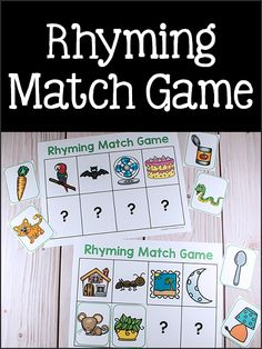 This printable rhyming set could be used in many ways and includes several pairs of matching rhyming picture cards. To play this Rhyming Match Game, print out the rhyming mats and the picture cards. Phonemic Awareness Kindergarten, Phonological Awareness Activities, Kindergarten Literacy, Early Literacy, Literacy Centers, Literacy Games, Phonics Games, Rhyming Preschool, Rhyming Activities