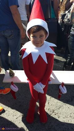 Abigale: My son Trace came up with the idea of being the Elf on the shelf. We dyed a body suit red and I free handed all of the rest with...