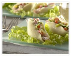 Bacon Stuffed Shell Salad - This recipe takes pasta salad to a big flavor level. Great to make ahead and serve for a simple luncheon. Serve with fresh seasonal fruit. Summer Salad Recipes, Summer Salads, How To Cook Pork, How To Cook Pasta, Shell Pasta Salads, Healthy Pork Recipes, Stuffed Pasta Shells, Wrap Sandwiches, Savoury Dishes