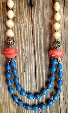 Blue tangerine Ugandan paper bead necklace by FunkyFishJewelry, $27.00