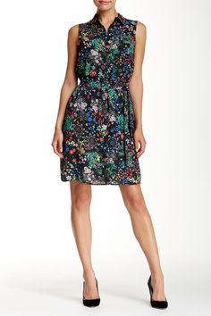 Sleeveless Floral Shirt Dress