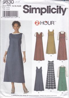 New Sewing Pattern for Women's Easy 2 hour Jumper Dress Simplicity Pattern 9830 Miss Size 14/20 14 16 18 20 Plus Size FF UNCUT 2002 by LanetzLiving on Etsy Plus Size Sewing Patterns, Simplicity Sewing Patterns, Clothing Patterns, Pattern Sewing, Jumper Patterns, Dress Patterns, Mccalls Patterns, Kinds Of Clothes, Jumper Dress