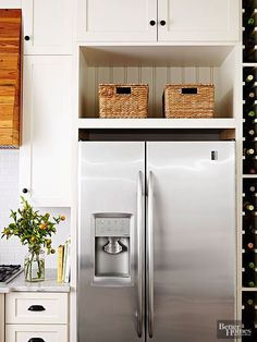 10 Best Over Refrigerator Storage Options Images Kitchen Storage