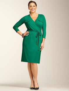 We welcome every plus-size professional woman who wants to build a closet of modern, elegant and well fitting work wear and invite you to visit www.executive-image-consulting.com for more information. Talbots - Matte Jersey Wrap Dress | Dresses | Woman