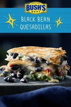 Bean Quesadillas Give your typical quesadilla an upgrade with fresh salsa, a blend of cheeses and BUSH'S® Black Beans.Give your typical quesadilla an upgrade with fresh salsa, a blend of cheeses and BUSH'S® Black Beans. Bean Recipes, My Recipes, Mexican Food Recipes, Vegetarian Recipes, Cooking Recipes, Favorite Recipes, Healthy Recipes, Healthy Snacks, Recipies