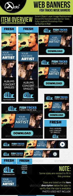 Fish Tracks Online Music Store Web Banners Template PSD   Buy and Download: http://graphicriver.net/item/fish-tracks-online-music-store-web-banners/6569562?WT.ac=category_thumb&WT.z_author=totopc&ref=ksioks