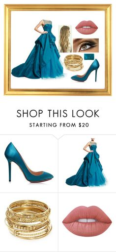 """""""Peacock Ball Gown"""" by haileypeay on Polyvore featuring Charlotte Olympia, Monique Lhuillier, ABS by Allen Schwartz, Lime Crime and Prada"""