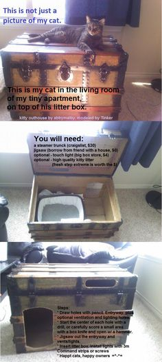 LPT: for cat people with small apartments, turn almost any used furniture into a stylish kitty outhouse - Imgur/Reddit