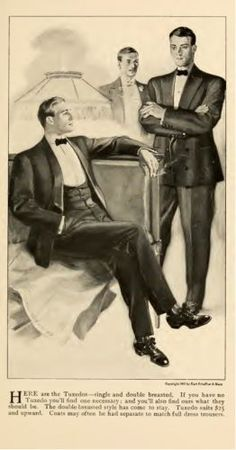 Men's Edwardian formalwear - 1905 mens single and double breasted tuxedos